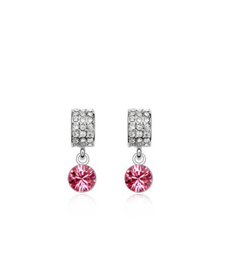 Roosa swarovski kristalliga kõrvarõngad