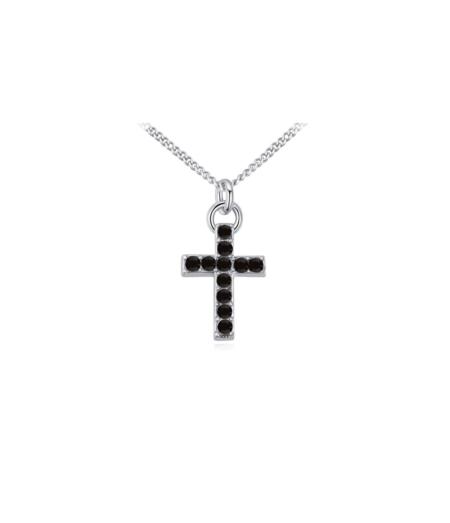 Musta swarovski kristallidega kaunistatud ristiga kaelakee