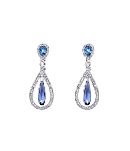 Rippuvad sinise Swarovski kristalliga kõrvarõngad