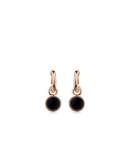 Rippuvad musta Swarovski kristalliga kõrvarõngad
