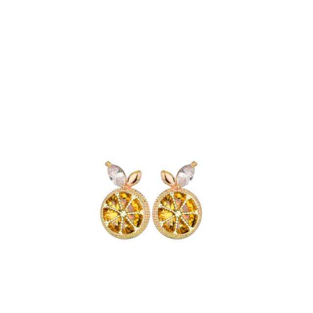 Kollased sidruniga kõrvarõngad