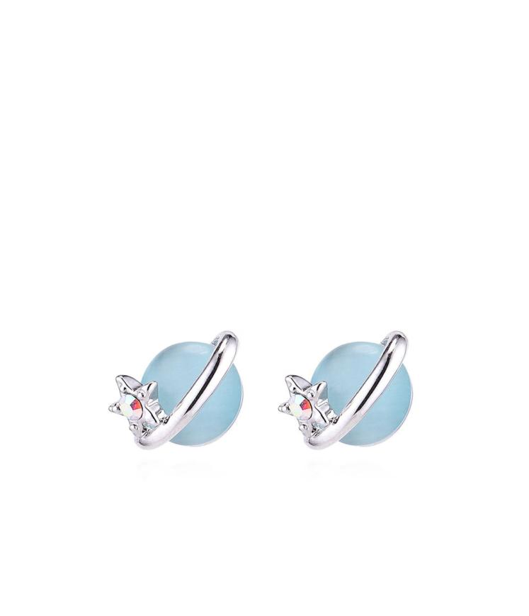 Sinise opaaliga kõrvarõngad