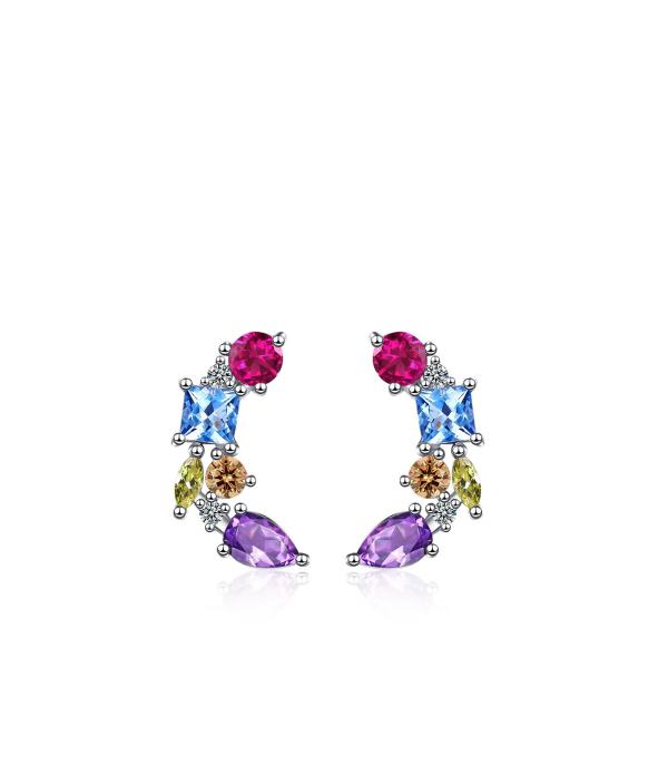 Värviküllaste kristallidega kõrvarõngad
