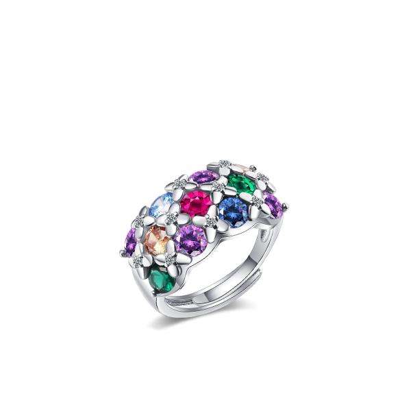 Lillede ja värviliste tsirkoonidega sõrmus