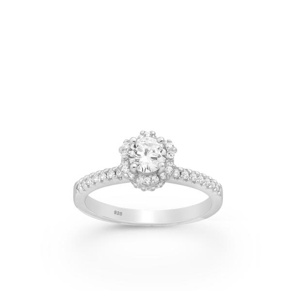 Majesteetliku kristalliga kihlasõrmus 925 hõbedast