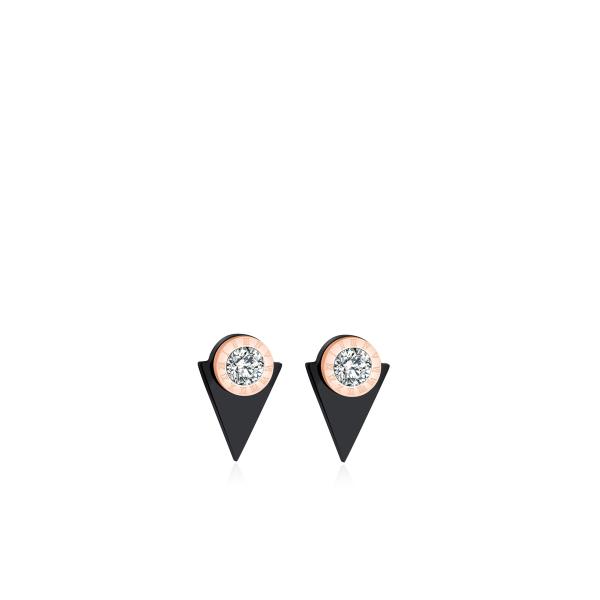 Musta kolmanurga sümboliga kõrvarõngad