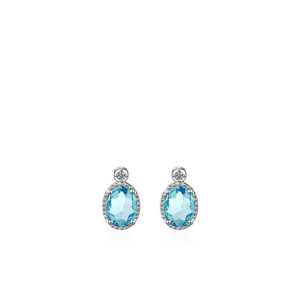 Helesinise ovaalse kristalliga kõrvarõngad