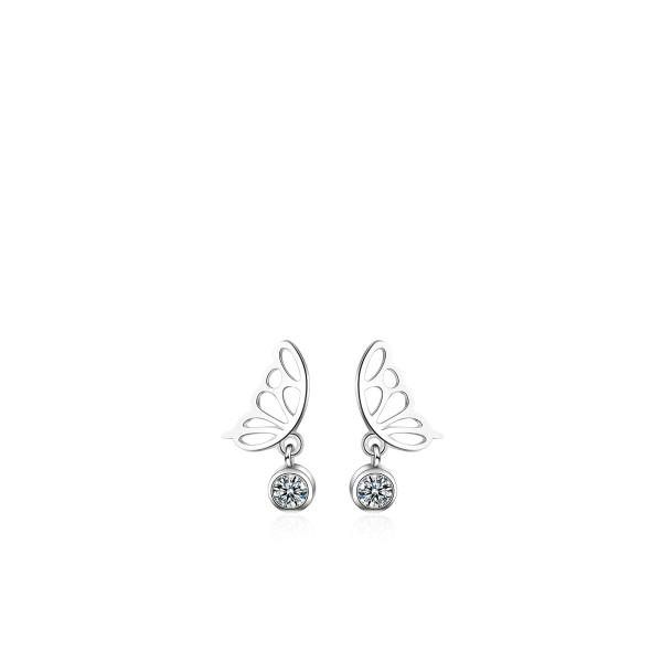 Kristalli ja liblika tiibadega kõrvarõngad