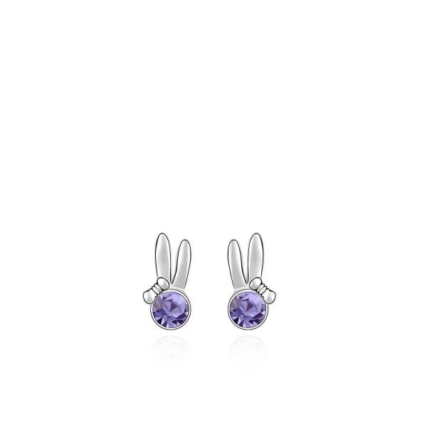 Jänese kõrvade ja lilla kristalliga kõrvarõngad